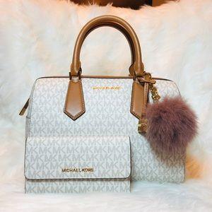 3PCS Michael Kors Hayes Duffle Bag Wallet Charms